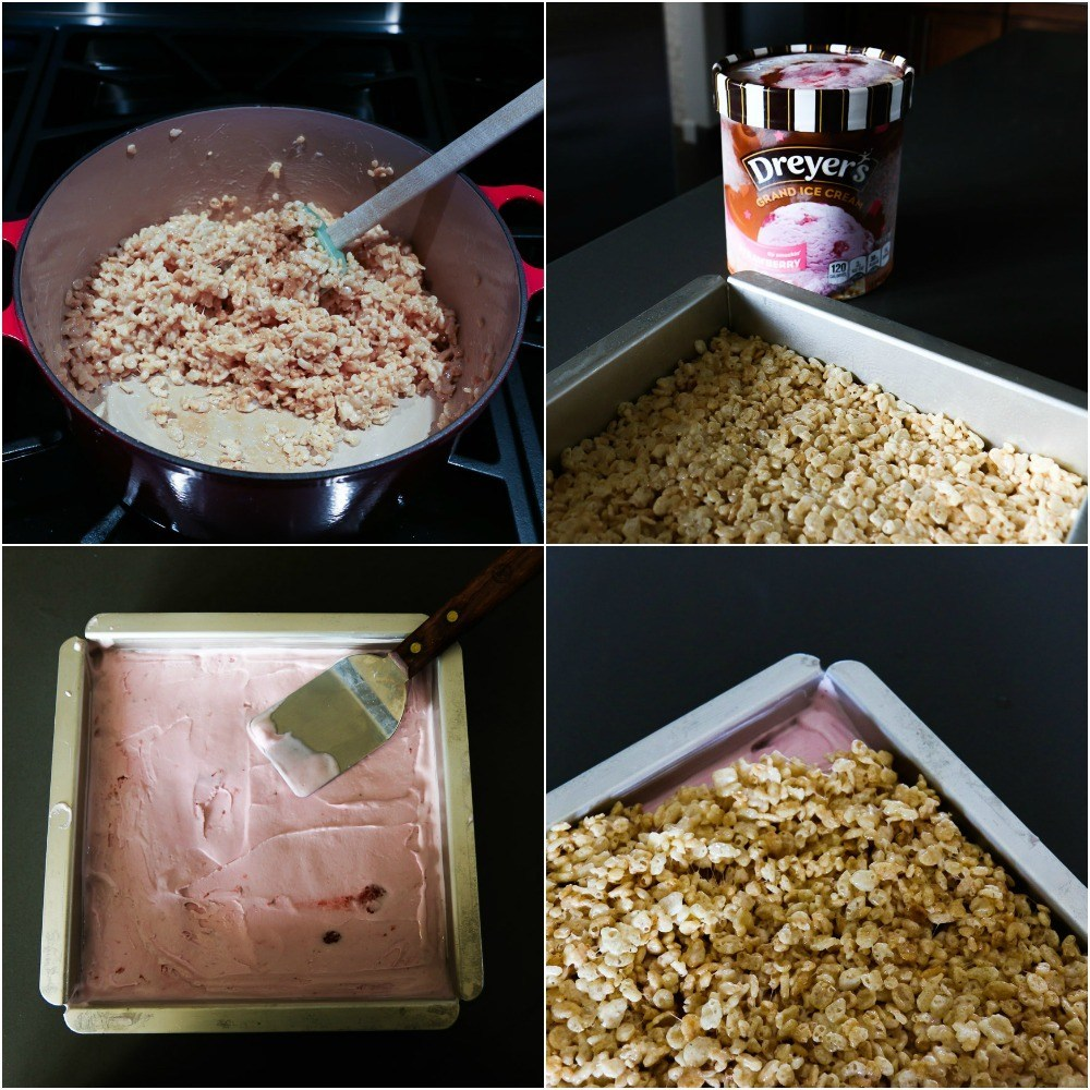 How to layer Rice Krispie treats and ice cream in a cake pan to make ice cream sandwiches.