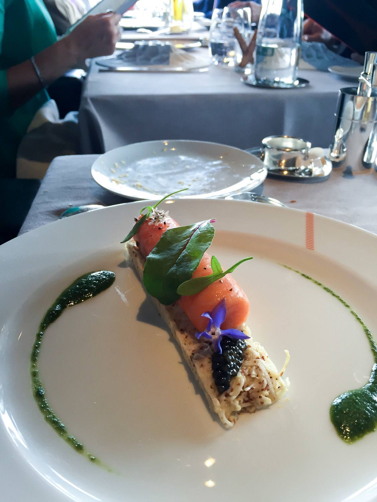 Salmon with caviar at Le Jules Verne restaurant in the Eiffel Tower