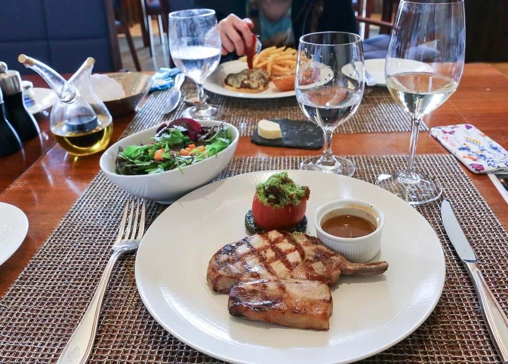 A pork chop lunch at The Bistro at Four Seasons Hampshire