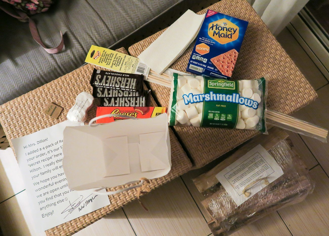 S'mores kit from Hilton San Diego Mission Bay Resort and Spa to use in our room's fire pit.