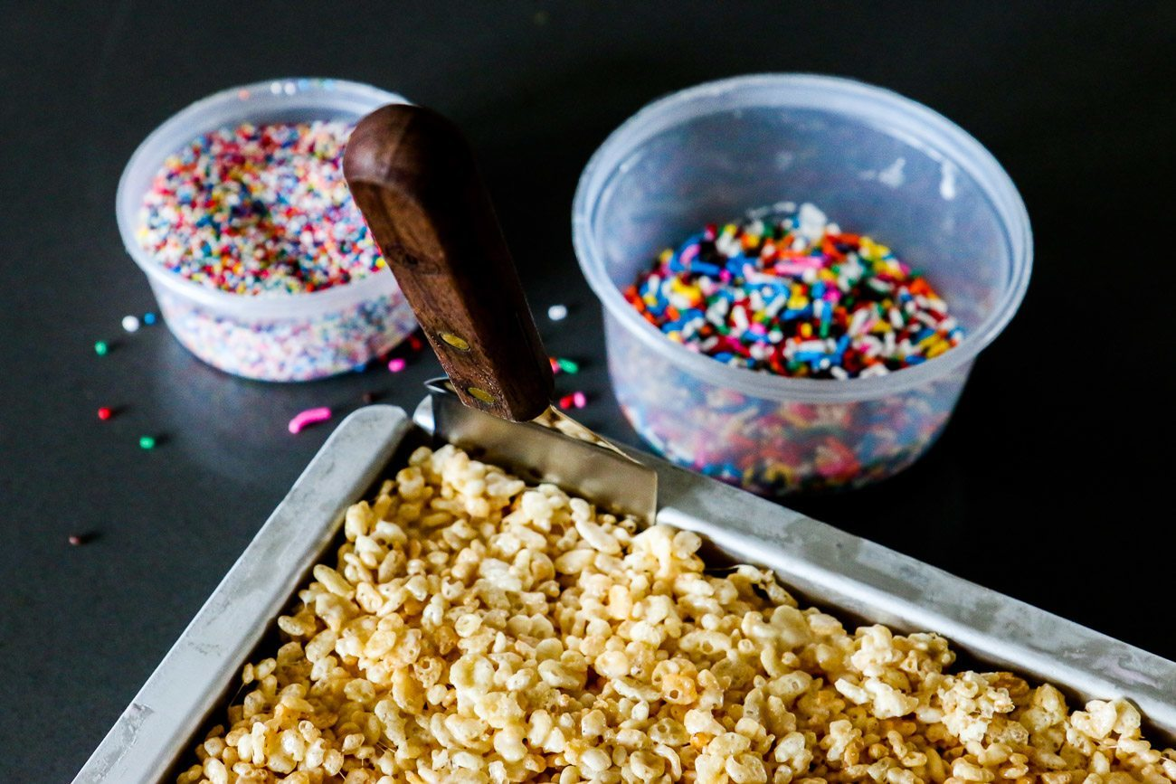 Rice Krispie treat ice cream sandwiches made in a cake pan are an easy summer dessert recipe.