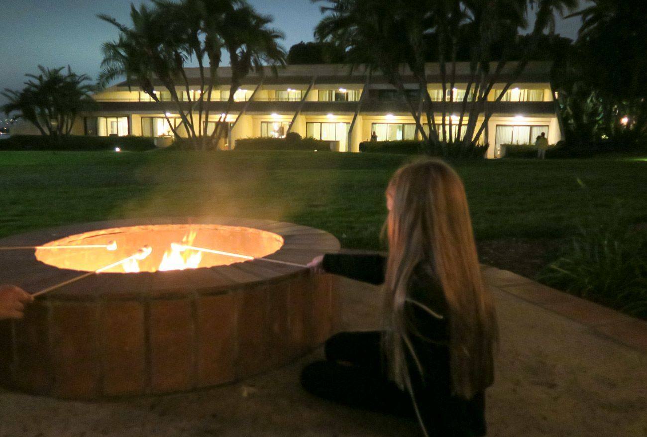 Roasting s'more at Hilton San Diego Resort and Spa