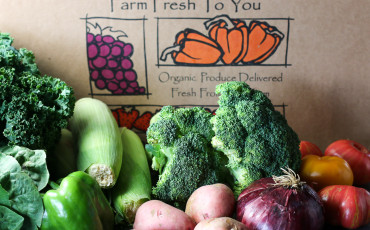 A mixed fruit and veggie CSA box from Farm Fresh to You in California