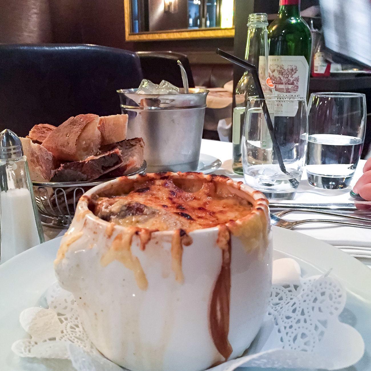 French onion soup at a Paris brasserie called Chez Flottes