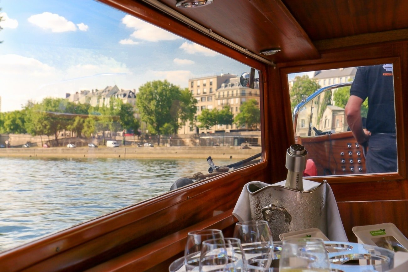 We drank champagne during our private Seine cruise with River Limousine in Paris. Extraordinary.