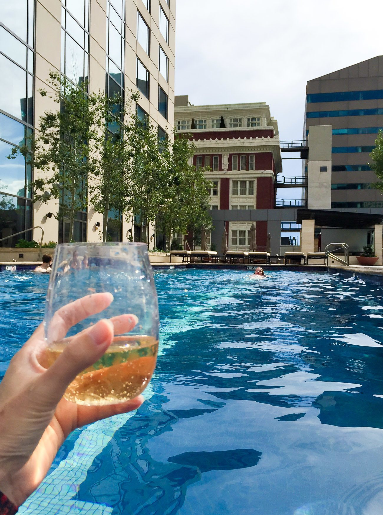 I drank a glass of Veuve Cliquot in the Four Seasons Hotel Denver pool