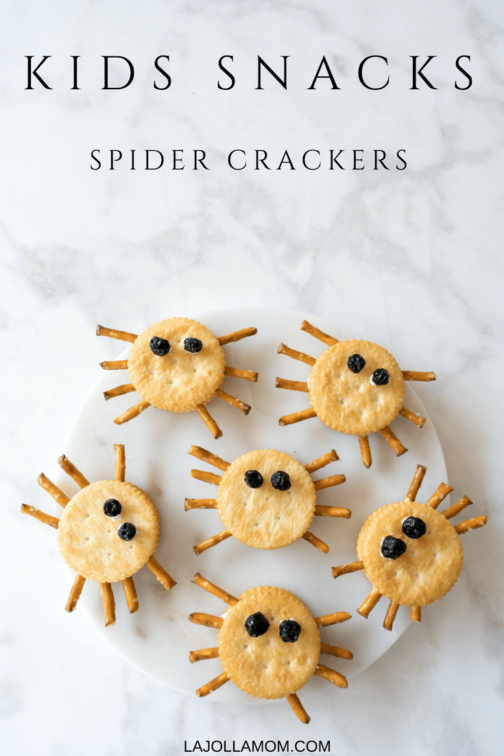Spider crackers are an easy kids recipe that they can make on their own for a snack.