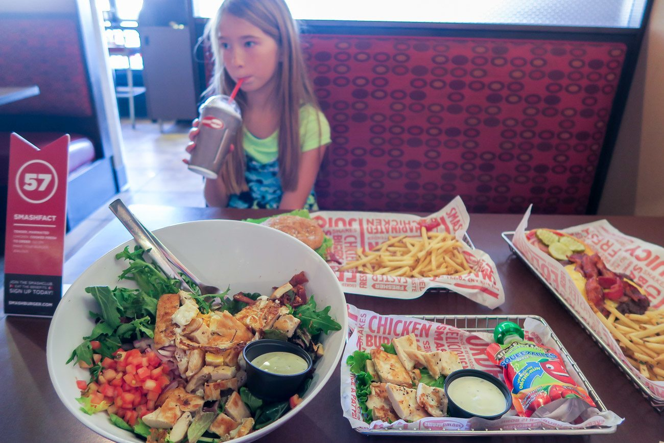 Dining at Smashburger restaurant in La Jolla