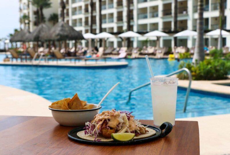 Fish tacos, margarita and ceviche by the pool at Hyatt Ziva Los Cabos in Mexico