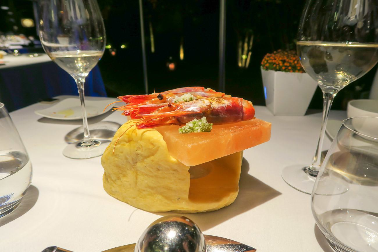 Prawns on a Himalayan salt block at ABaC Restaurant in Barcelona.
