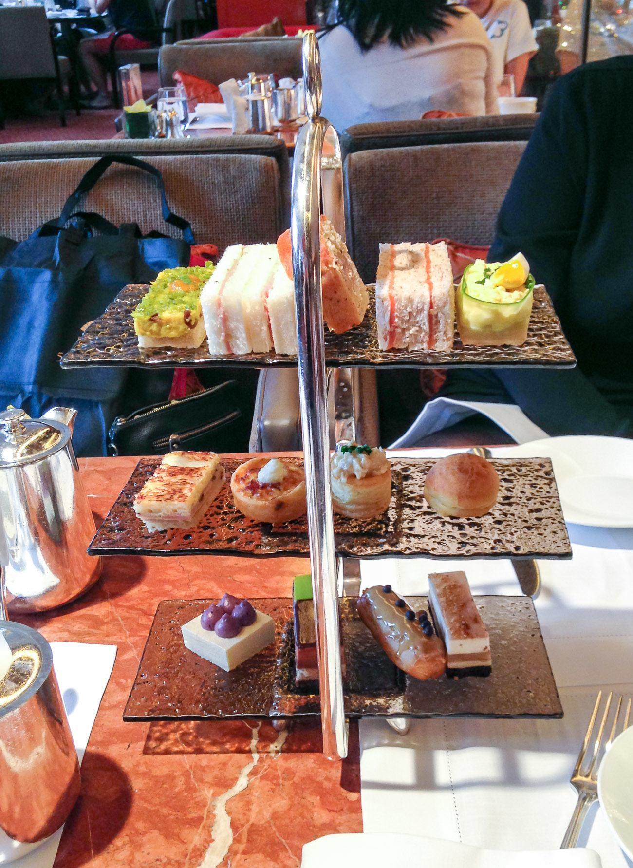 An afternoon tea set at the Mandarin Oriental, Hong Kong's Clipper Lounge.