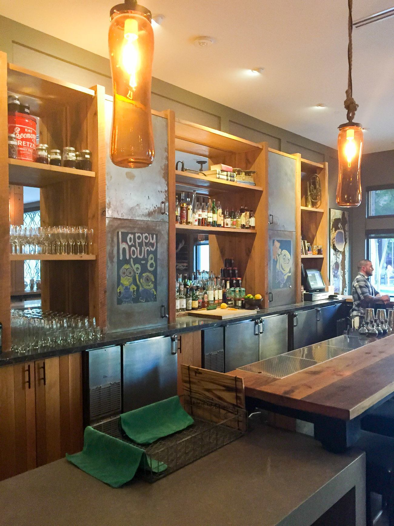 The Andaz Napa in the downtown area has a cool rustic vibe in the lobby and bar area.