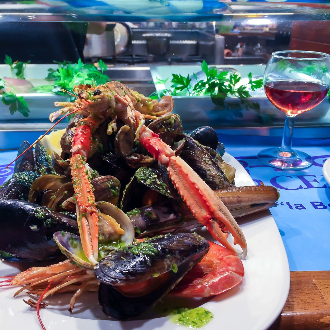 A giant seafood plate at BarCentral in La Boqueria Market in Barcelona