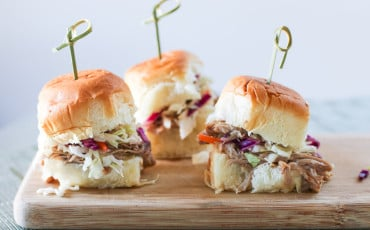 This pulled pork slider recipe involves very few ingredients and a crockpot. It's an easy football recipe!