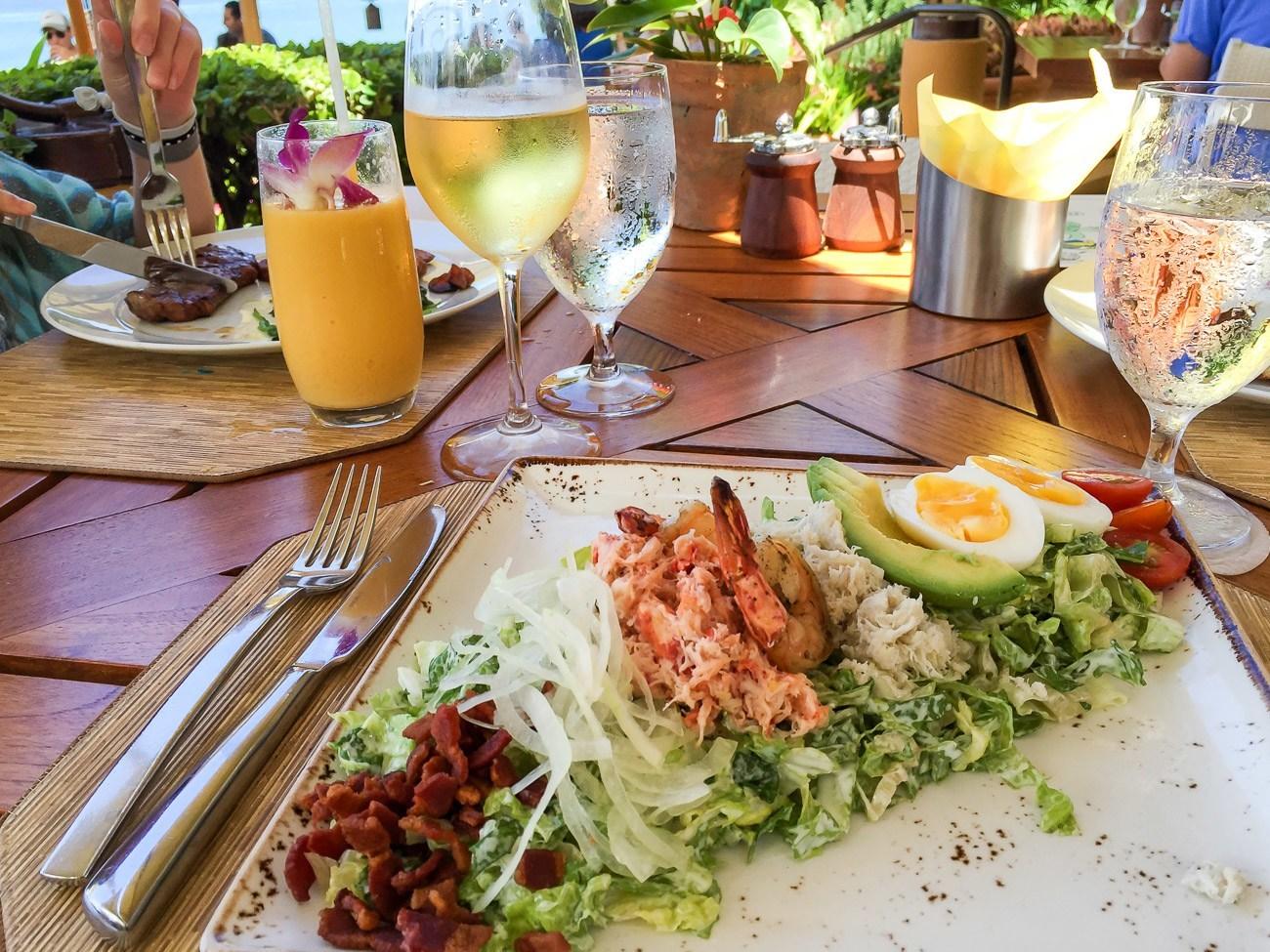 The seafood Cobb salad at Ferraro's near the pool at Four Seasons Resort Maui at Wailea