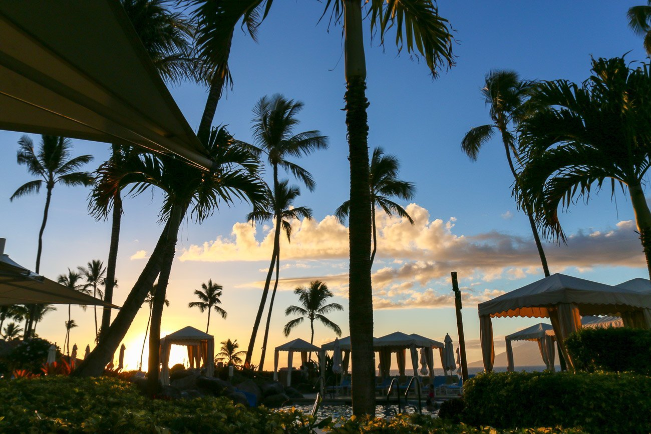 Sunset over the keiki pool at Four Seasons Resort Maui at Wailea