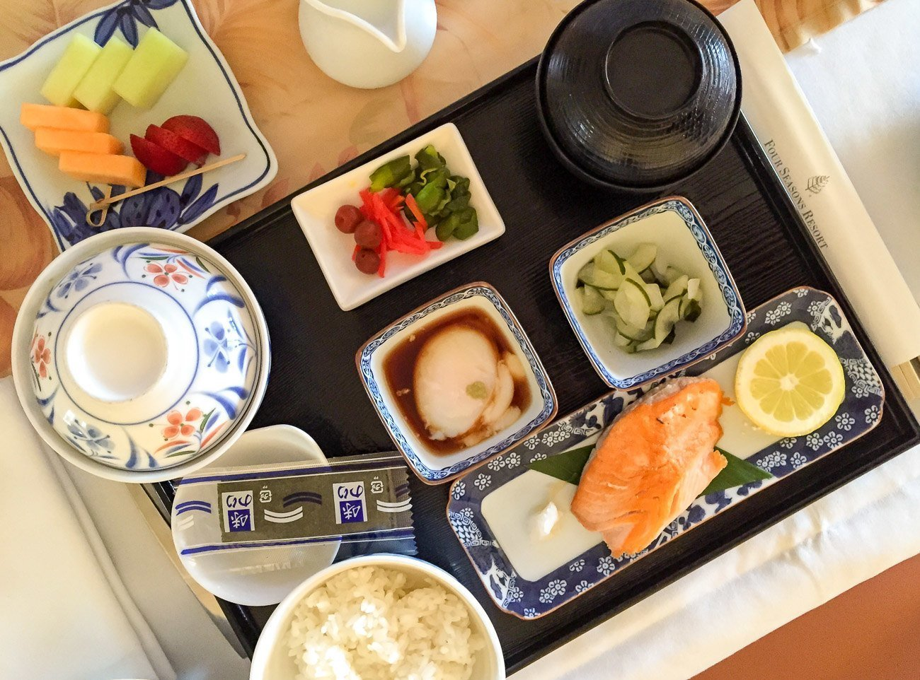 The Japanese breakfast from in-room dining at Four Seasons Resort Maui at Wailea