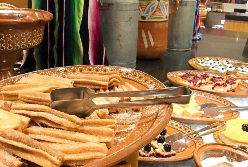 The dessert table (churros!) at El Molina, the Mexican buffet restaurant at Hyatt Ziva Los Cabos