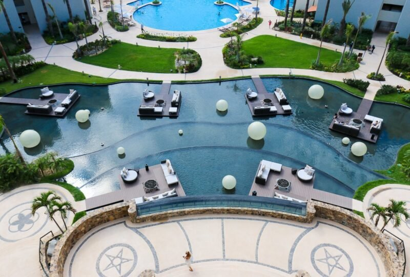 Water seating area at Hyatt Ziva Los Cabos viewed from above