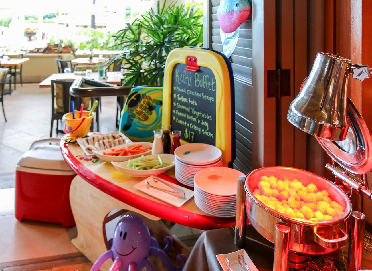 A Keiki buffet at DUO Steak and Seafood restaurant inside Four Seasons Maui.