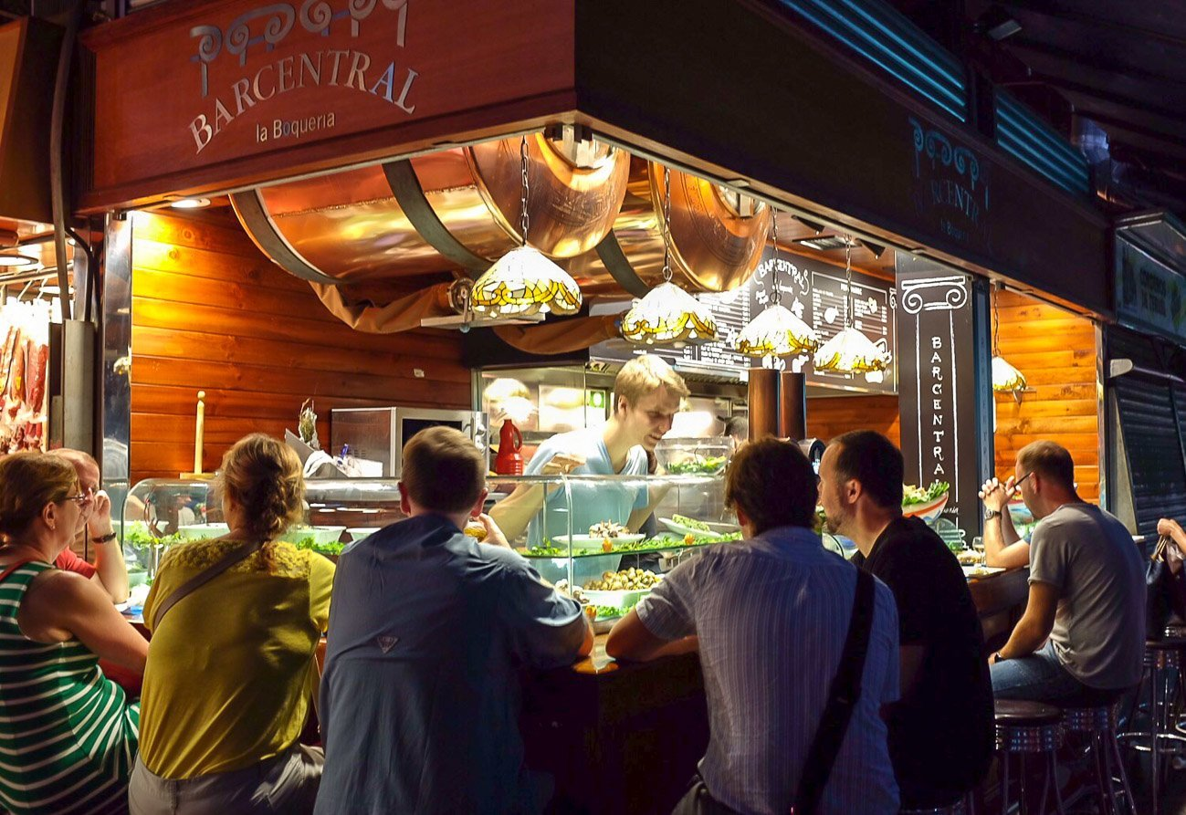 Bar Central serves delicious seafood tapas at La Boqueria Market in Barcelona.