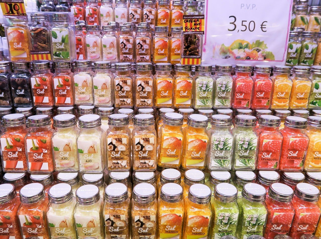 Flavored salts at La Boqueria Market in Barcelona