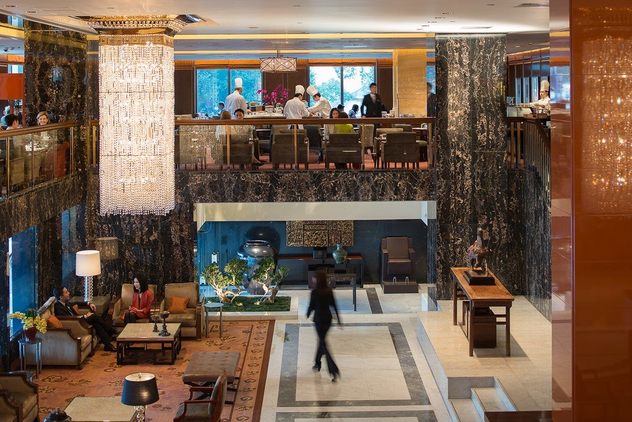A view of the Clipper Lounge as seen from the lobby at Mandarin Oriental, Hong Kong