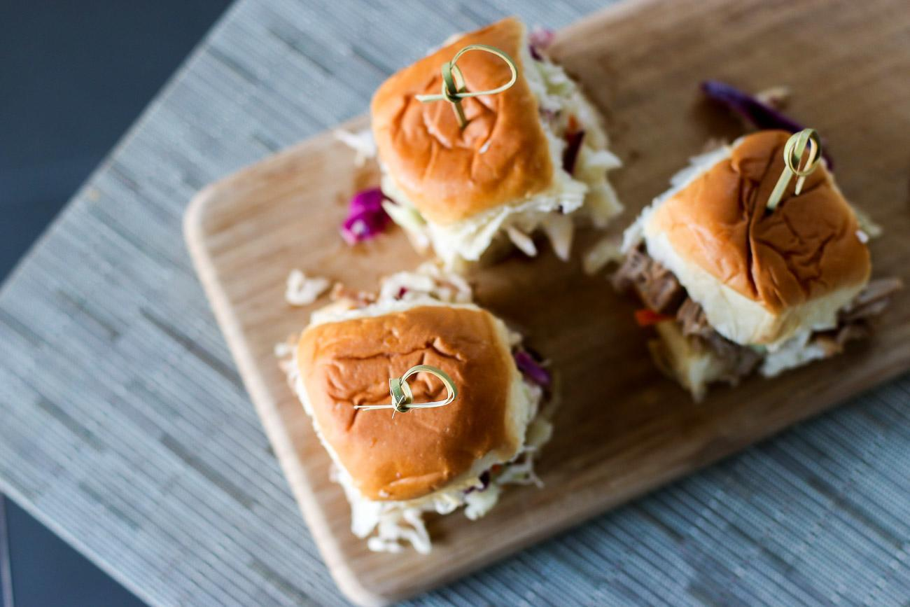 Really easy pulled pork sliders can be done in a slow cooker with ready-made Campbell's Slow Cooker sauce.