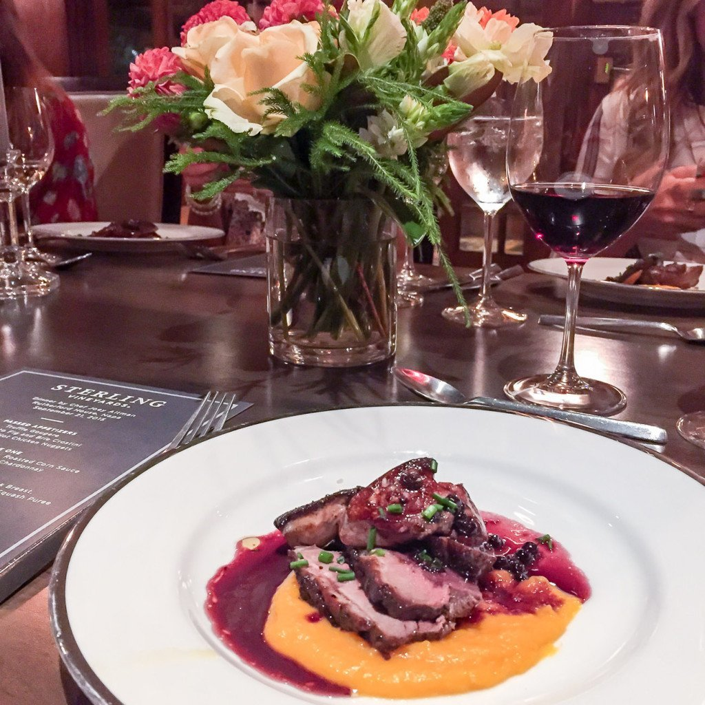 Duck breast and butternut squash puree paired with Sterling wines