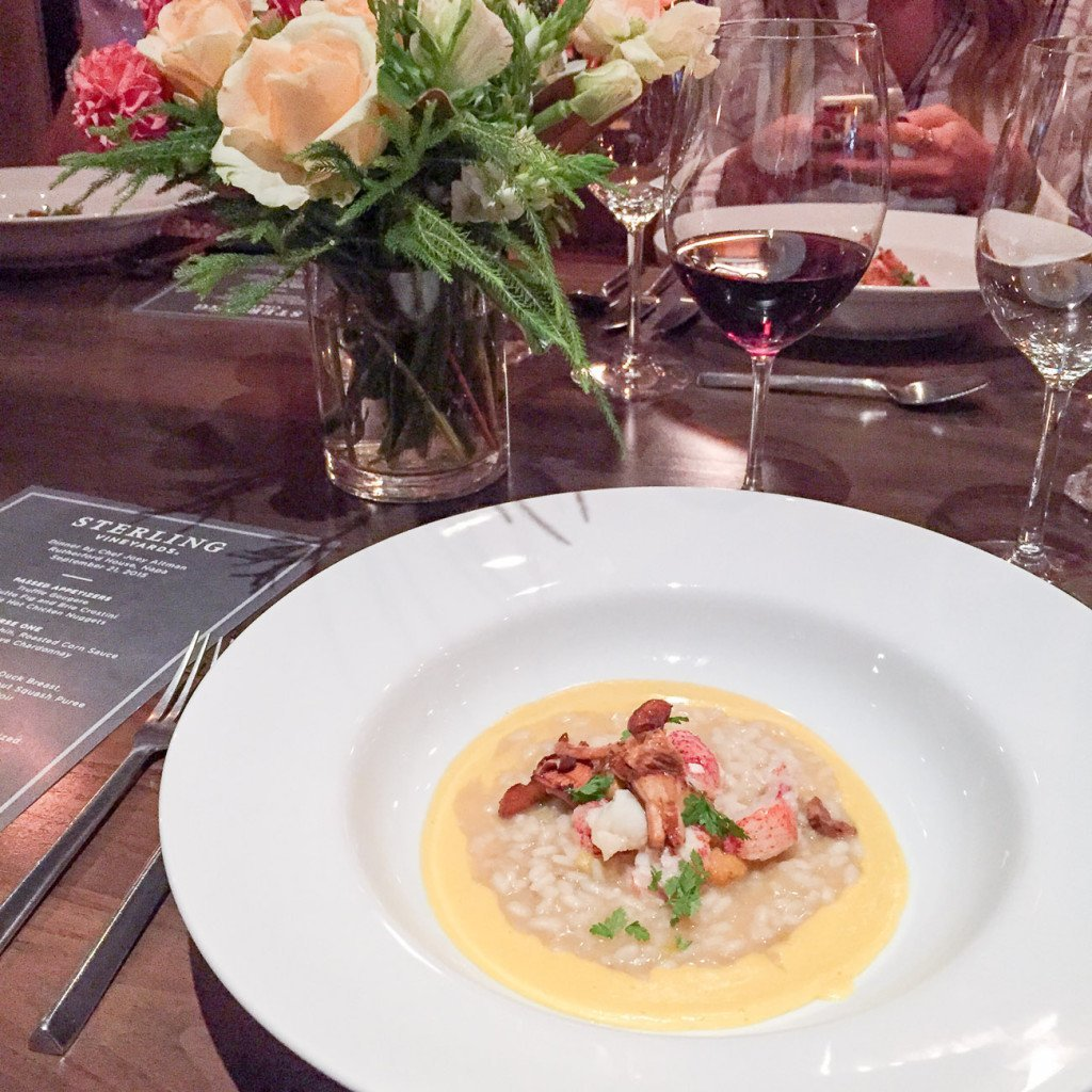 Lobster risotto with corn sauce paired with Sterling wines