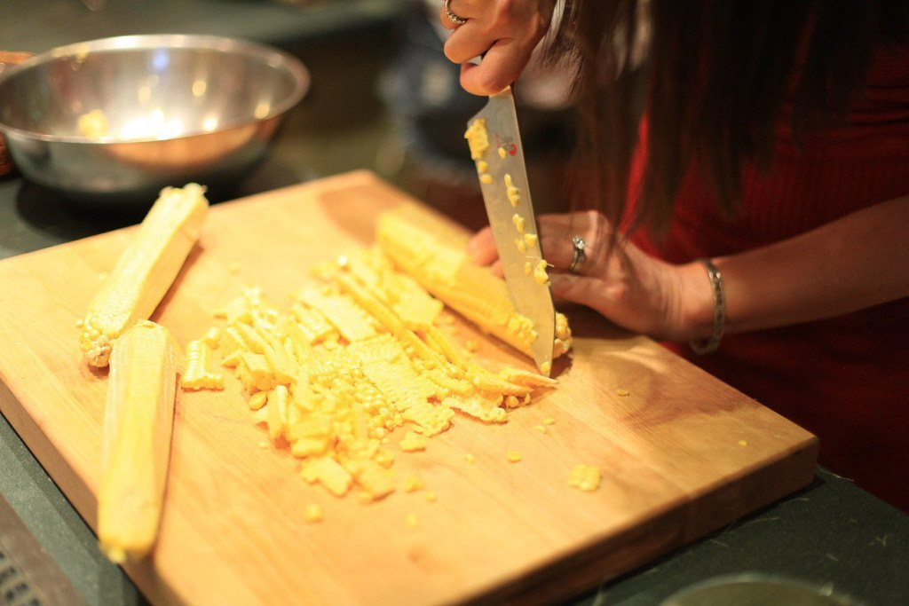 Chef Joey Altman taught us that you cut corn off the cob with the cob horizontal... it's so much easier!!!