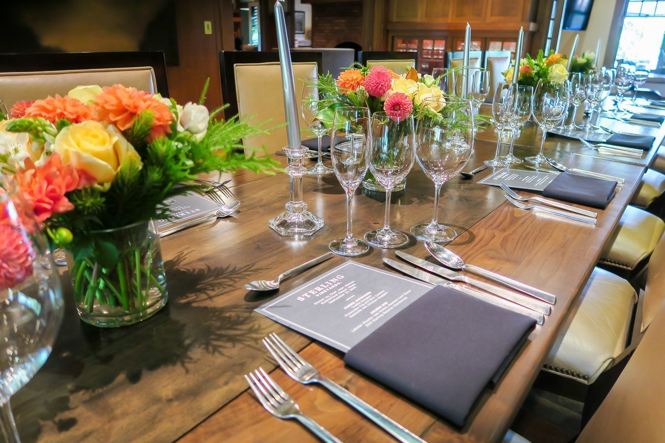 A beautiful tablescape at Rutherford House in Napa Valley