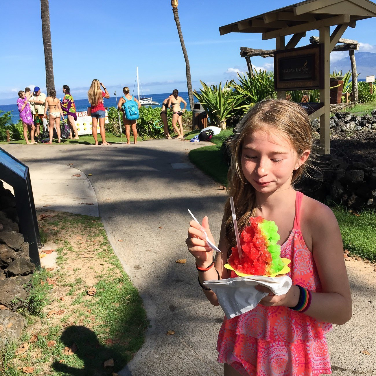 Shave ice at Makena Beach Resort after a snorkeling tour with Kai Kanani