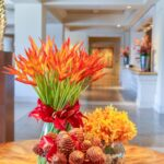 A group of tropical flower arrangements at Four Seasons Resort Maui at Wailea.