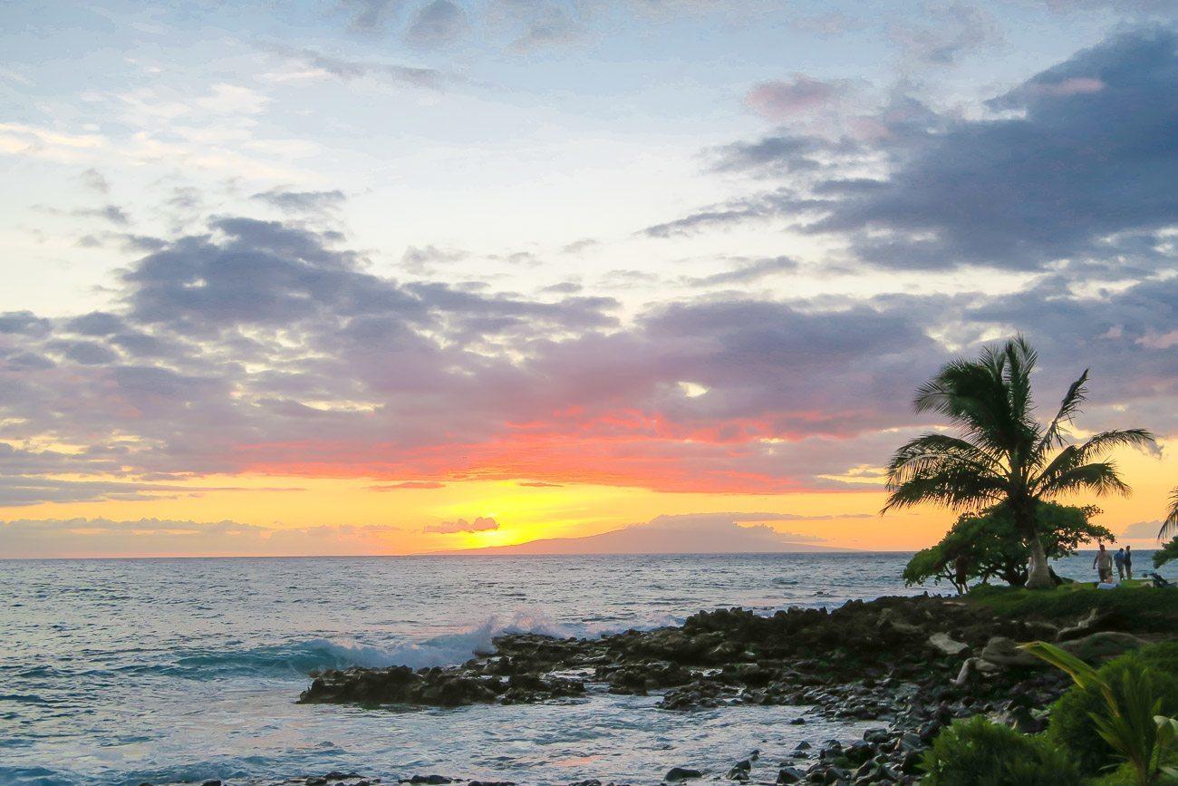 A sunset on the beach in Wailea, Maui