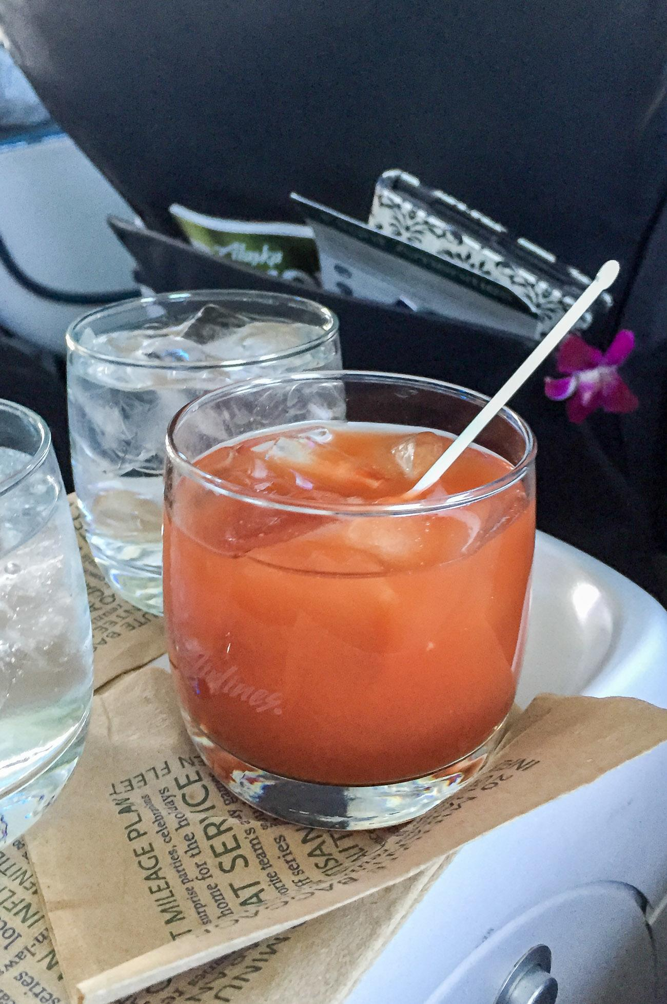 The Bloody Mary on Alaska Airlines in first class from San Diego to Maui.