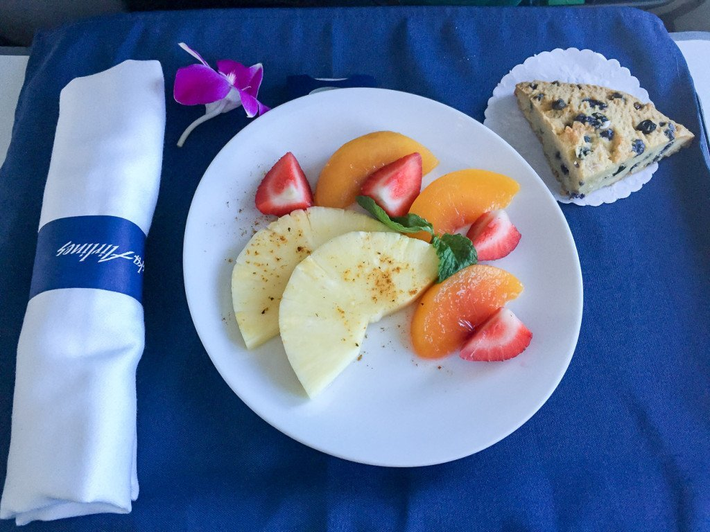 First course during breakfast in first class on Alaska Airlines from San Diego to Maui.