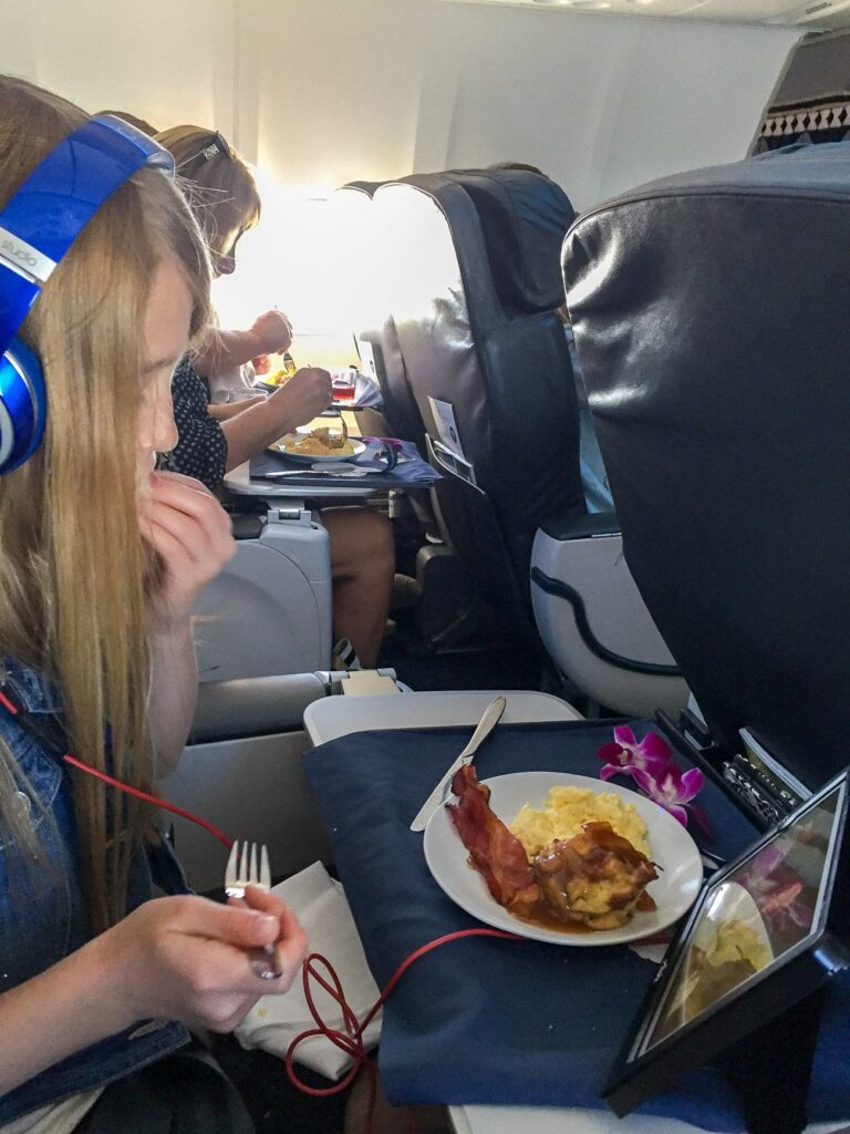 Breakfast and in-flight entertainment on Alaska Airlines in first class from San Diego to Maui