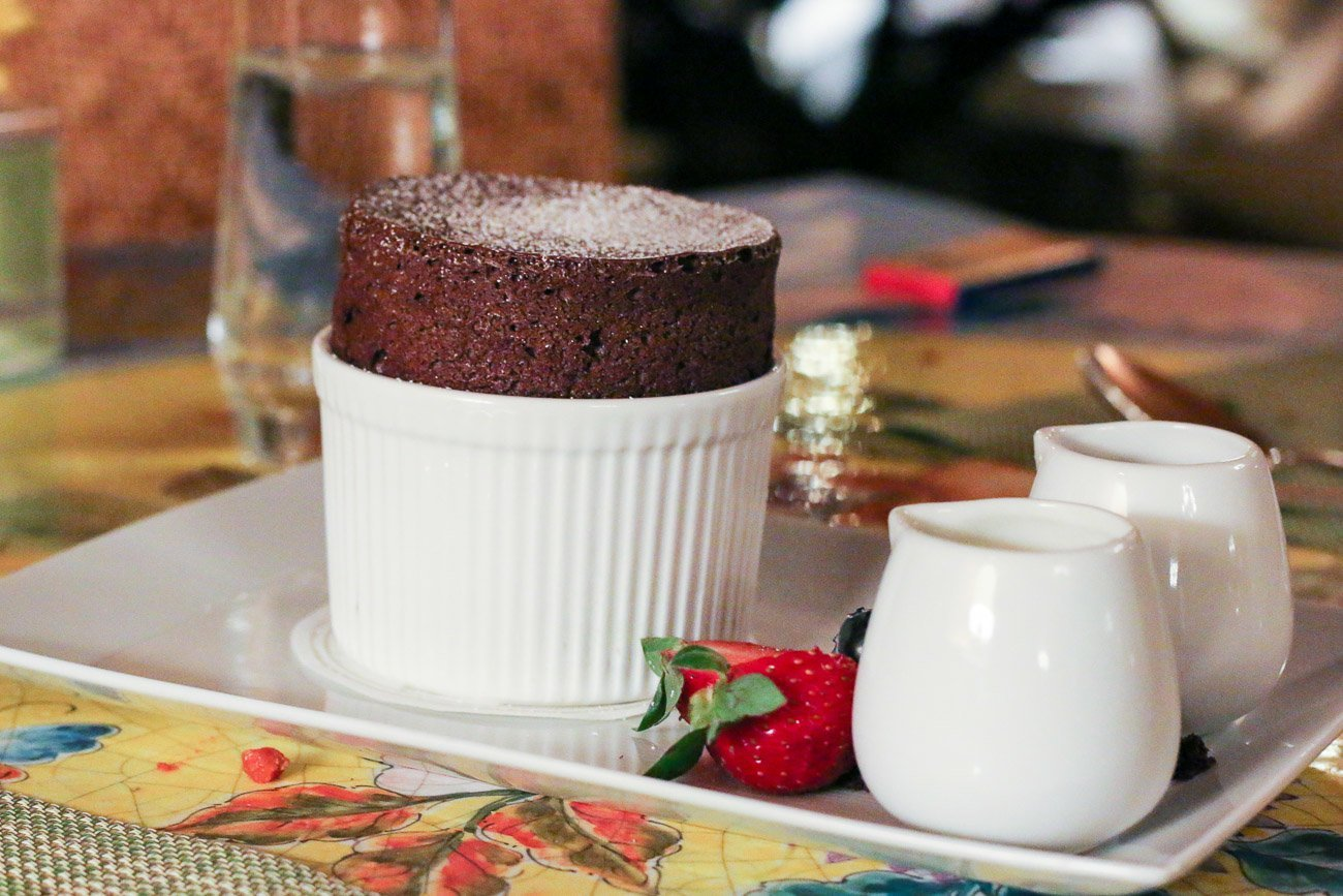 The chef's signature dark chocolate soufflé at Four Seasons Santa Barbara's Bella Vista