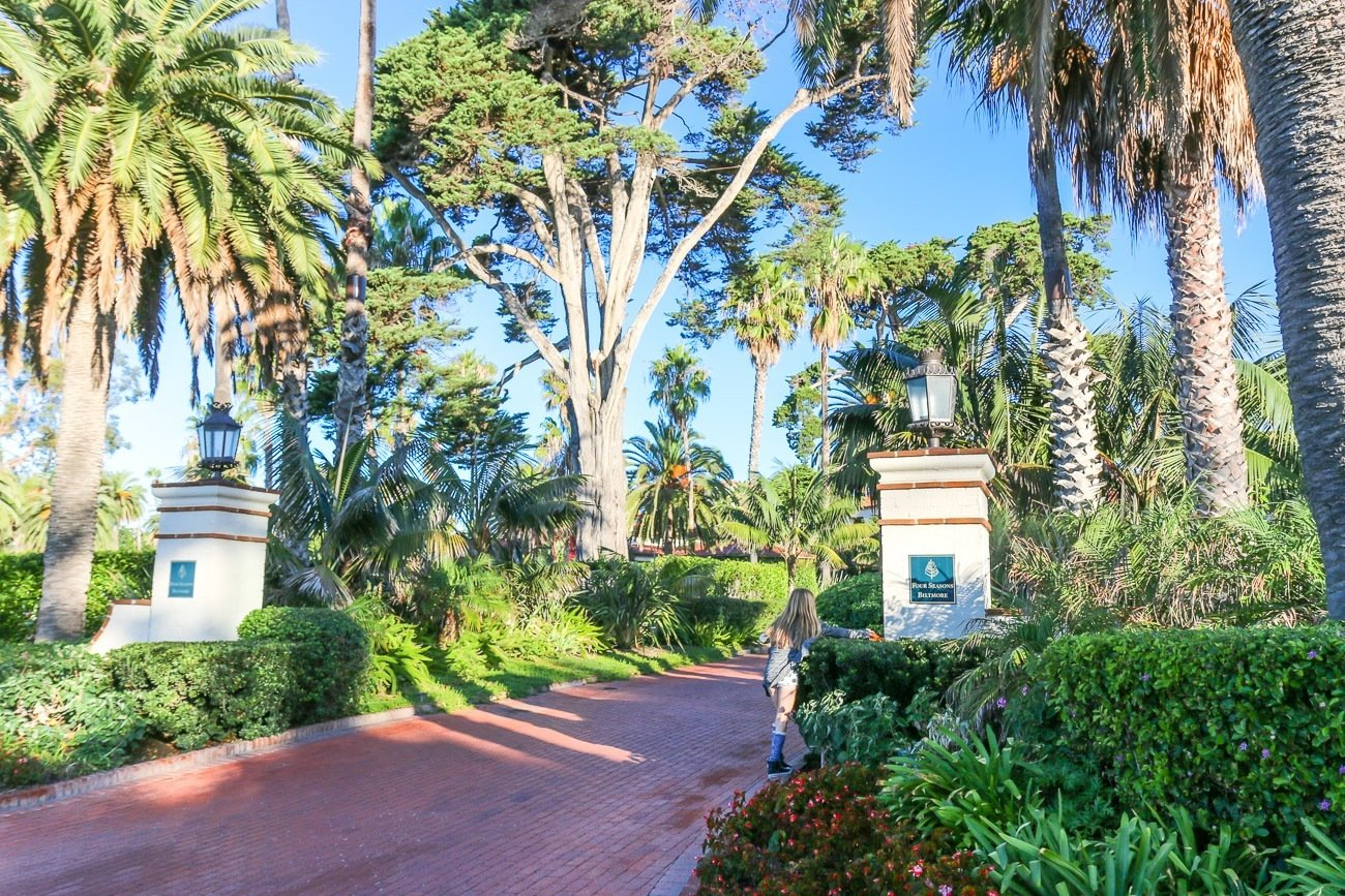 The driveway leading to Four Seasons Resort The Biltmore Santa Barbara