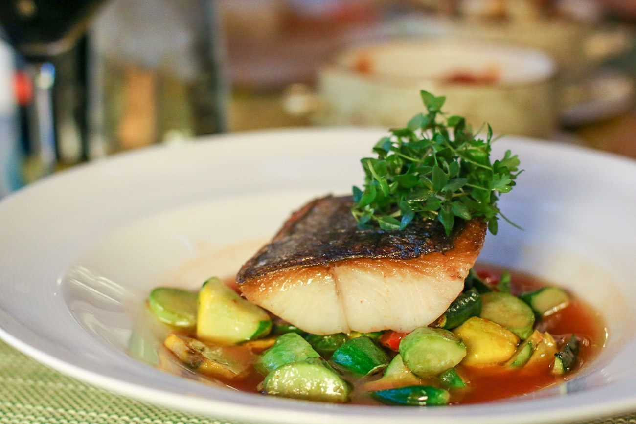 A healthy choice of black cod at Four Seasons Resort The Biltmore Santa Barbara's Bella Vista restaurant.