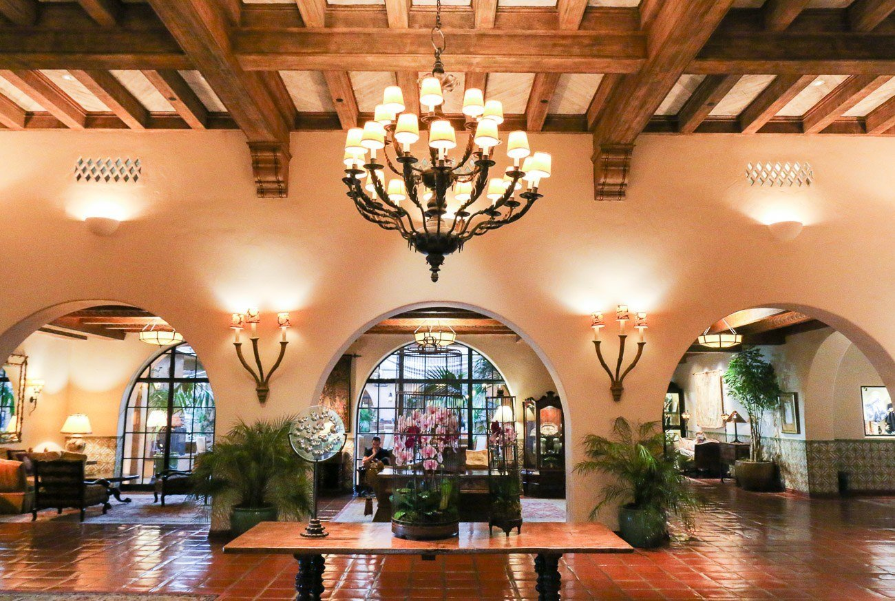 The stunning lobby area inside Four Seasons Resort The Biltmore Santa Barbara
