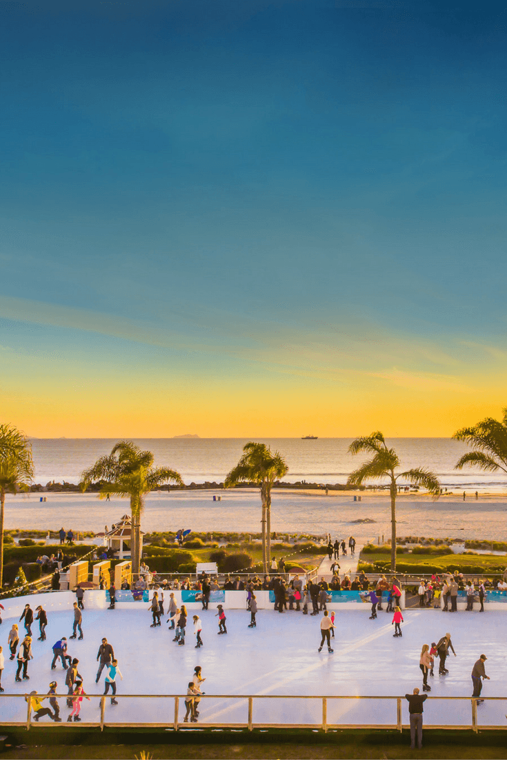 Where else can you ice skate steps from the ocean other than San Diego's Hotel Del Coronado?