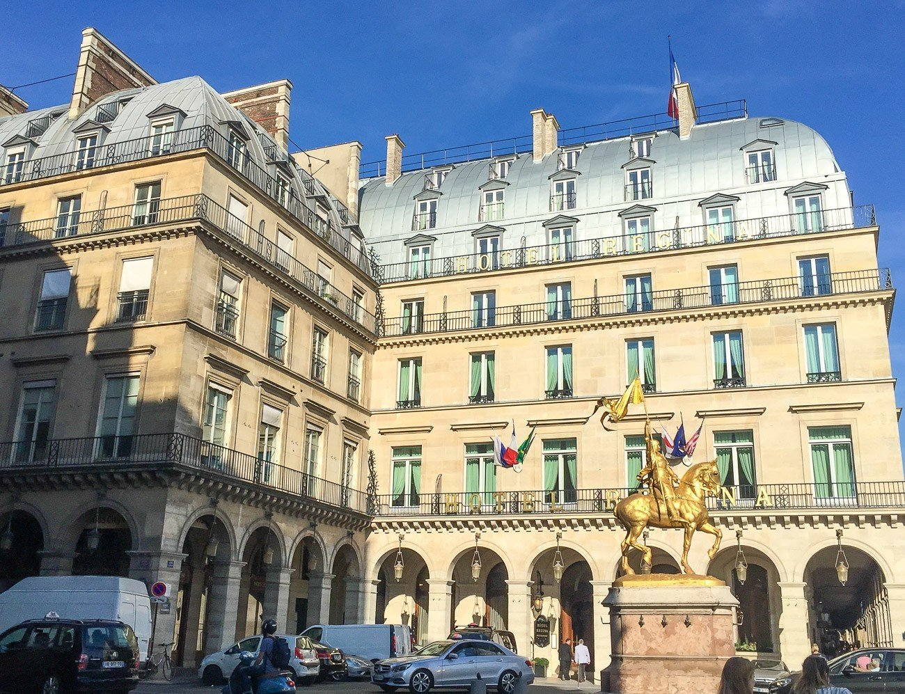 Hotel Regina in Paris has a perfect location across the street from the Louvre in the 1st arrondissement.