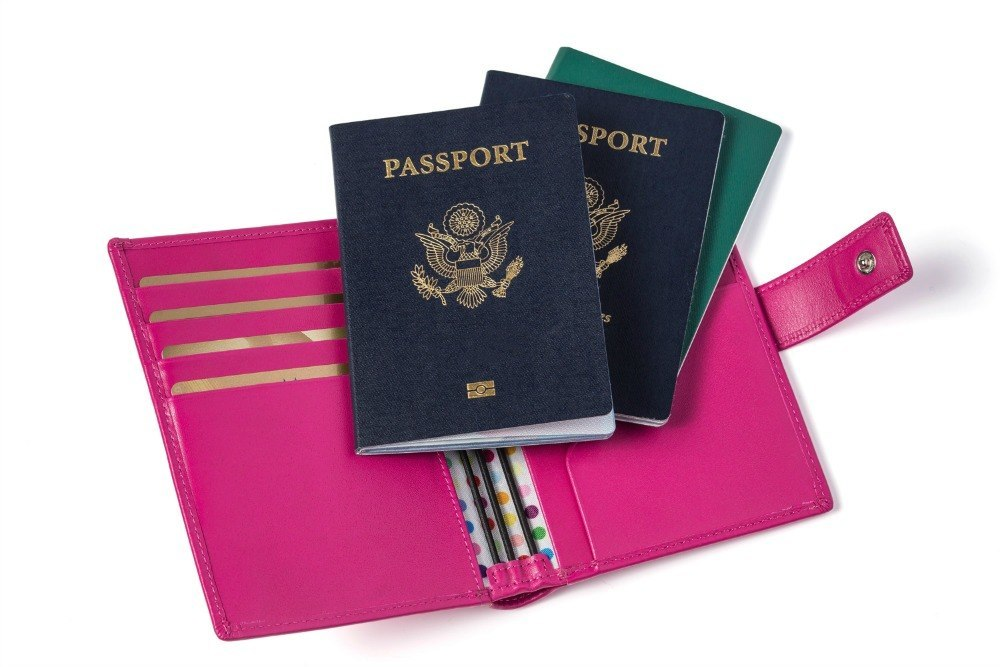 The Up and Away three-passport holder in pink and multicolor dots