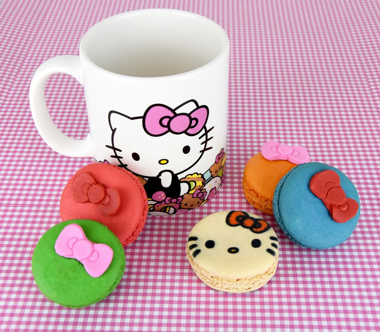 Macarons and mug from the Hello Kitty Cafe Truck which is coming to San Diego