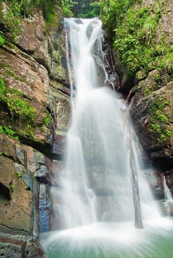 La Mina falls cascades into a cool pool in the El Yunque national forest Puerto Rico.