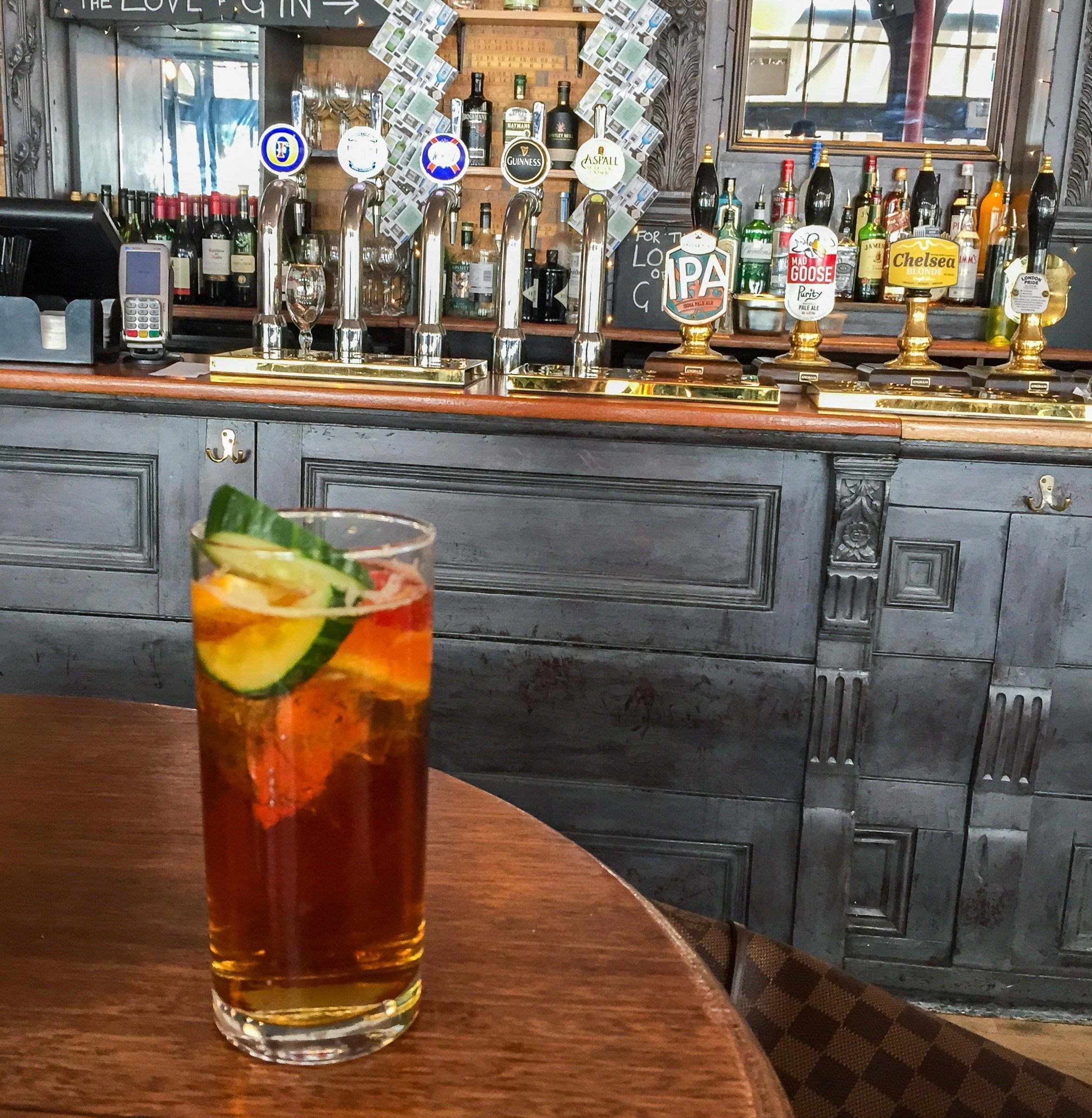 A Pimm's cup at the Chelsea Potter in London on the King's Road. This local pub was a favorite of Jimi Hendrix and the Rolling Stones.