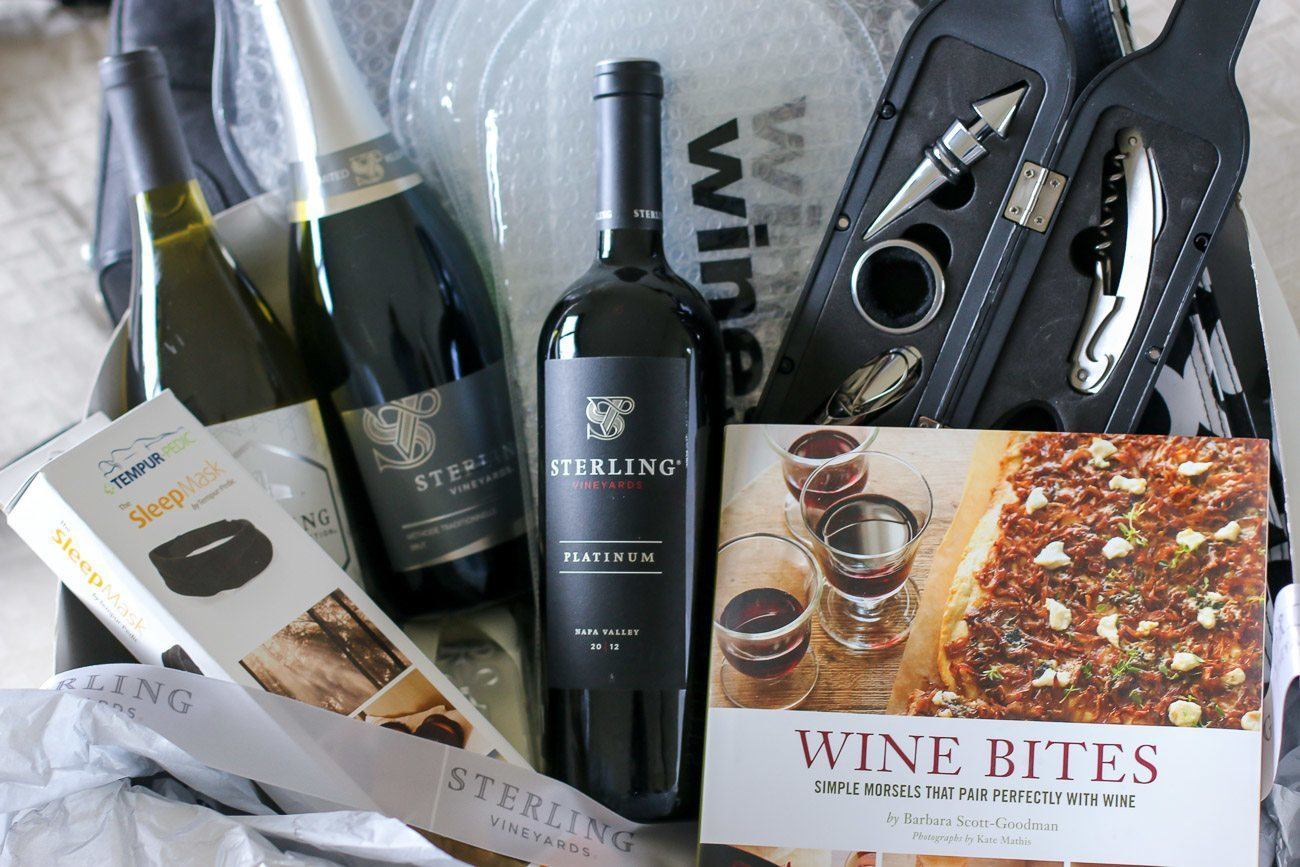 A holiday inspiration kit from Sterling Wines featuring accessories for transporting, opening and enjoying wine while on the go.