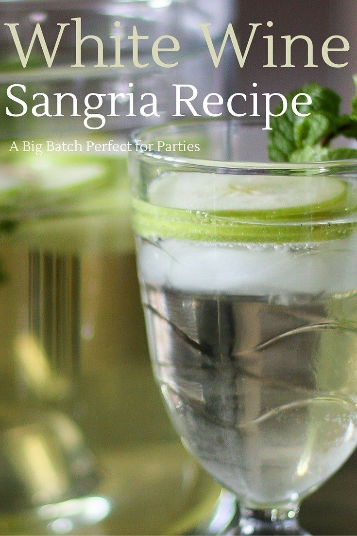 How to make a white wine sangria recipe for a crowd with apples and mint.